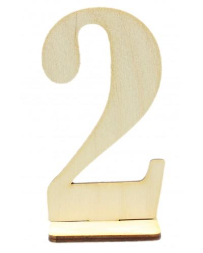 """Numerek drewniany na stół """"2"""""""