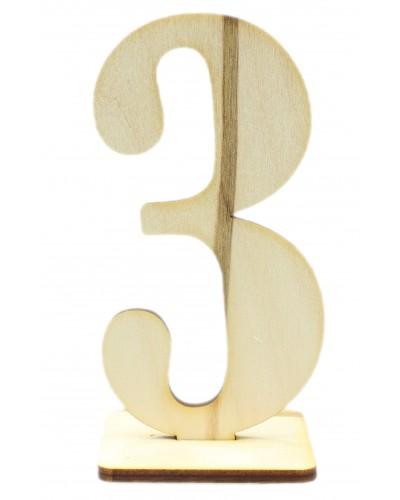 """Numerek drewniany na stół """"3"""""""