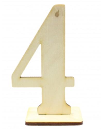 """Numerek drewniany na stół """"4"""""""