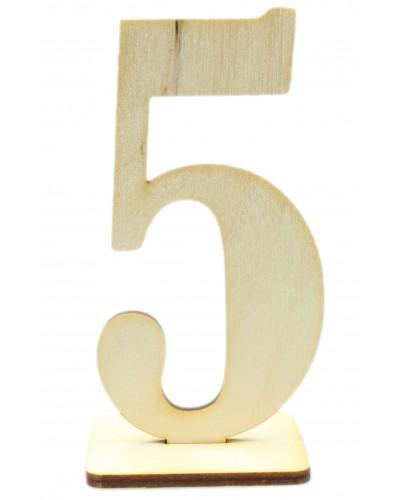 """Numerek drewniany na stół """"5"""""""