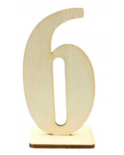 """Numerek drewniany na stół """"6"""""""