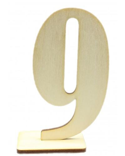 """Numerek drewniany na stół """"9"""""""