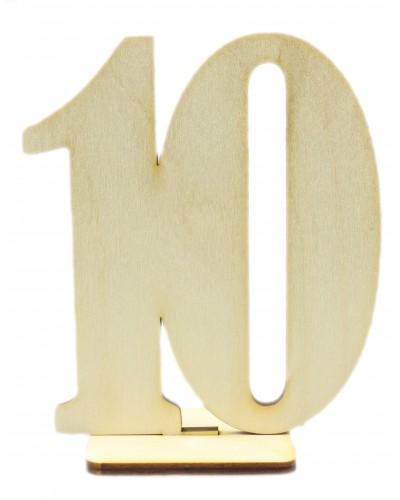 """Numerek drewniany na stół """"10"""""""