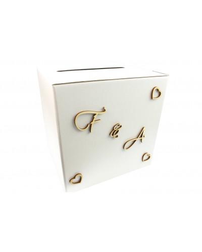 Pudełko na koperty Perłowe z Waszymi Inicjałami