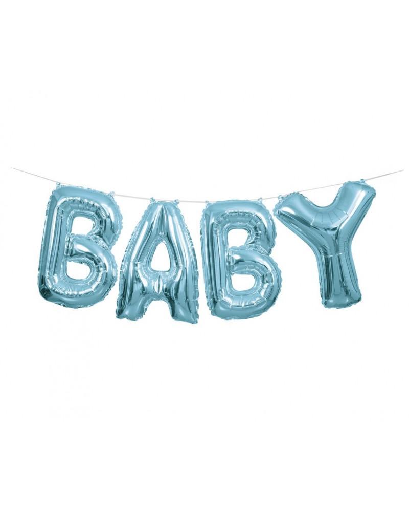 Balon foliowy napis BABY niebieski