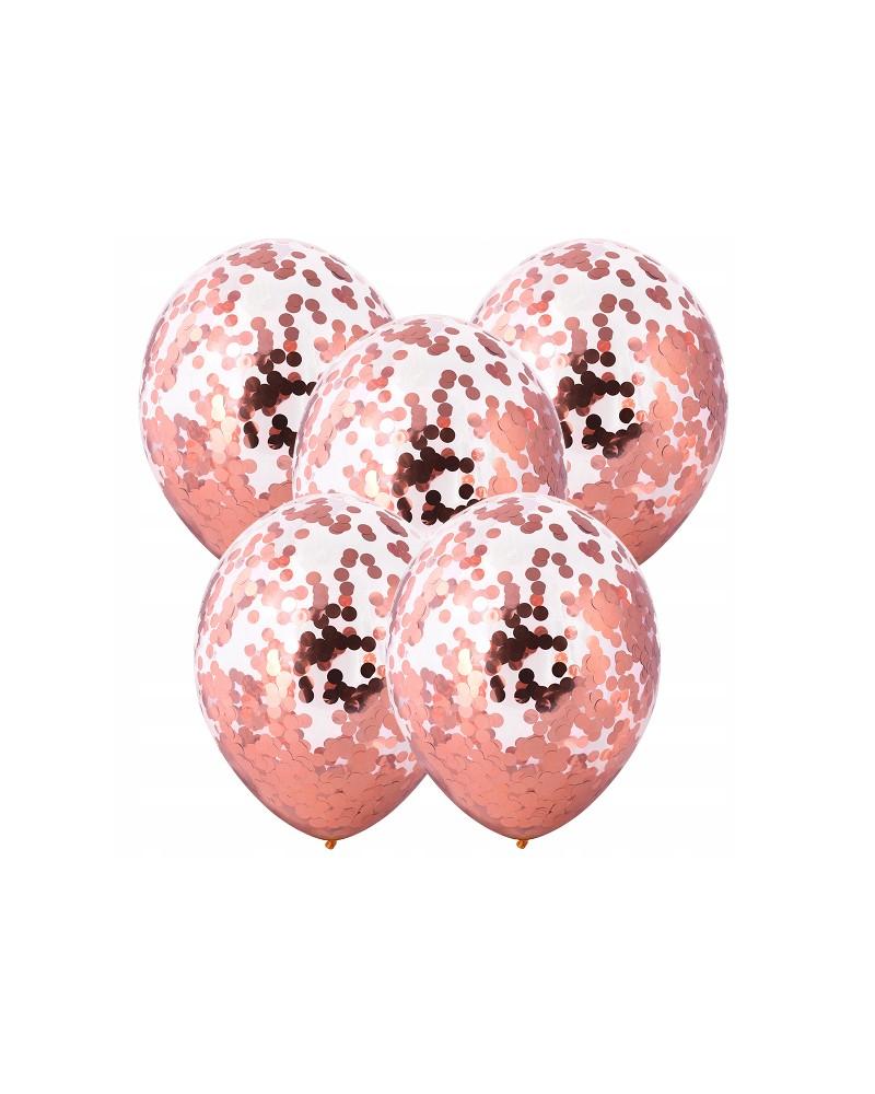 Balony z różowo-złotym konfetti