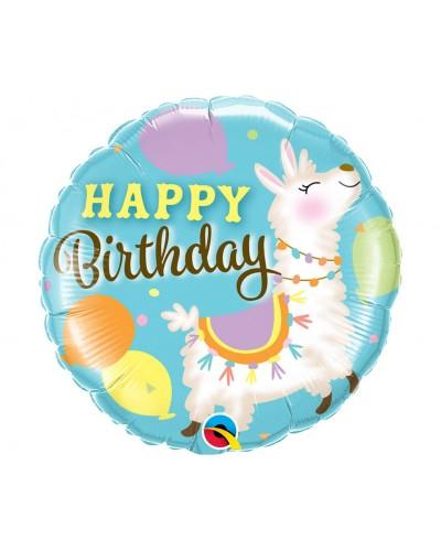 Balon foliowy urodzinowa Lama