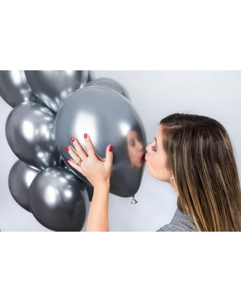 """Balony chromowane 13"""" 40cm Shinny Srebrne 10szt."""