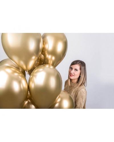 """Balony chromowane 13"""" 40cm Shinny Złote 10szt."""