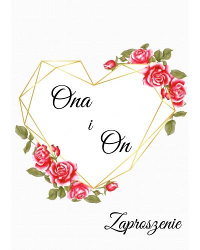 Zaproszenie ślubne Geometryczne Serce z Różami