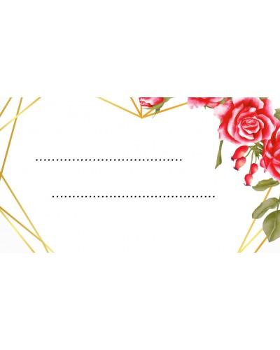 Winietki ślubne Geometryczne Serce z Różami, 10 sztuk