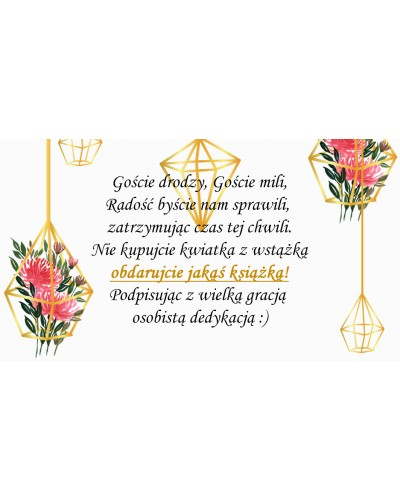 Bileciki, wkładki do zaproszeń ślubne Gold Flower
