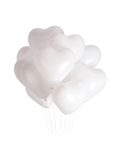 Balony w kształcie SERCA Białe (10 szt.)