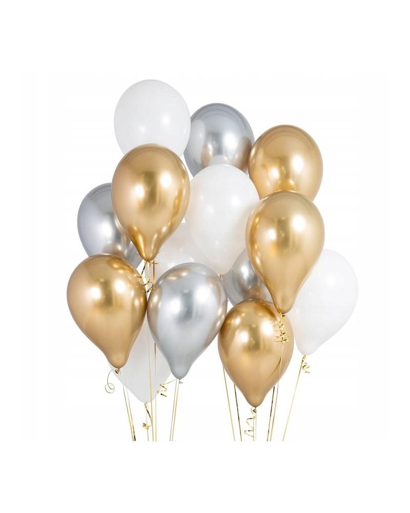 """Balony metaliczne 12"""" złote-białe-srebrne"""