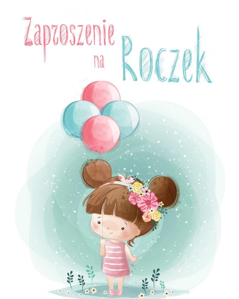 """Zaproszenie na roczek """"Dziewczynka z balonikami"""""""