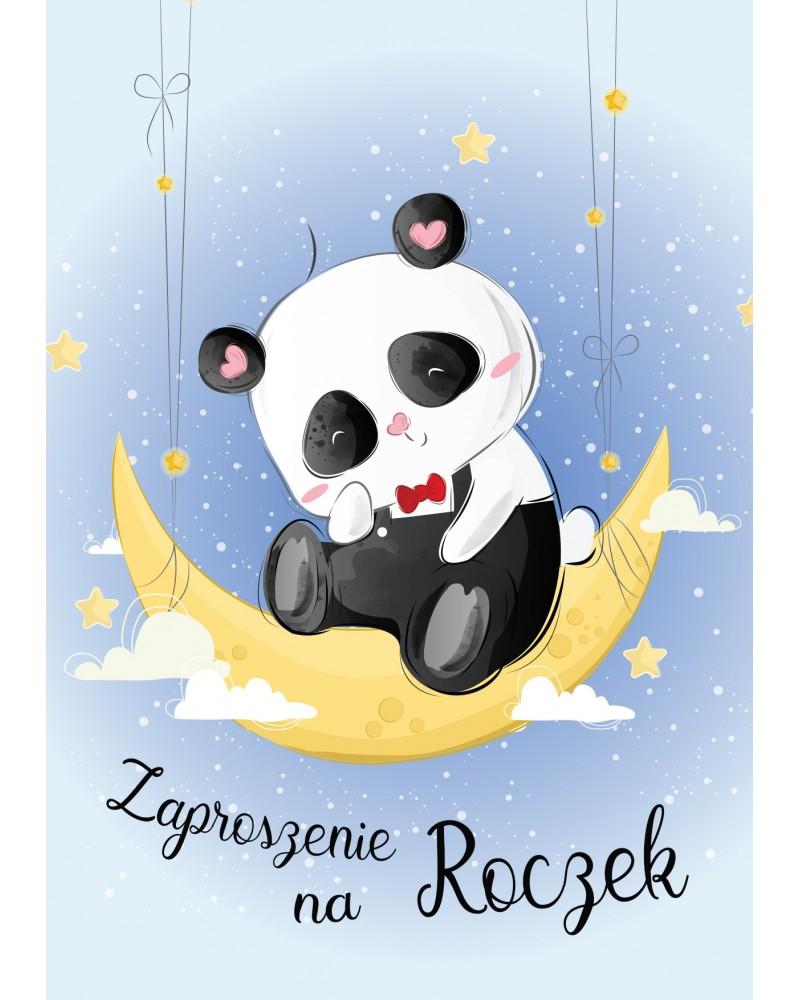 """Zaproszenie na roczek """"Księżycowa Panda"""""""