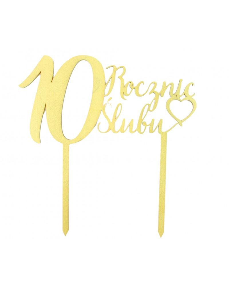 Topper na 10 rocznicę ślubu Złoty
