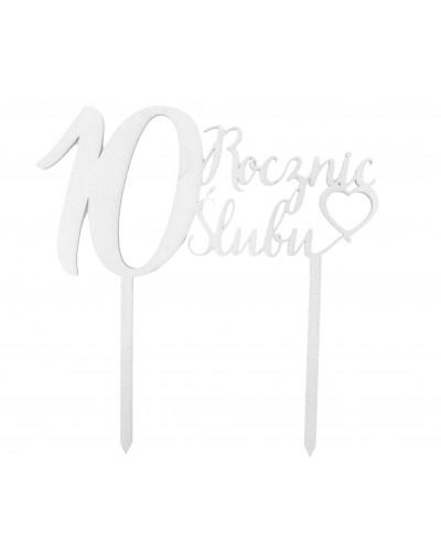 Topper na 10 rocznicę ślubu Srebrny