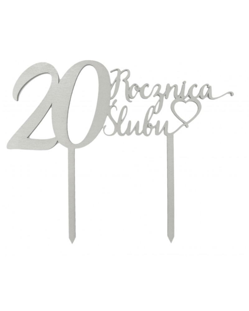 Topper na 20 rocznicę ślubu Srebrny