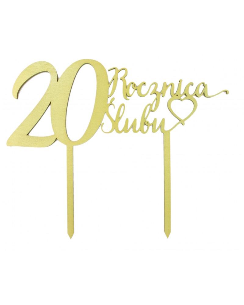 Topper na 20 rocznicę ślubu Złoty