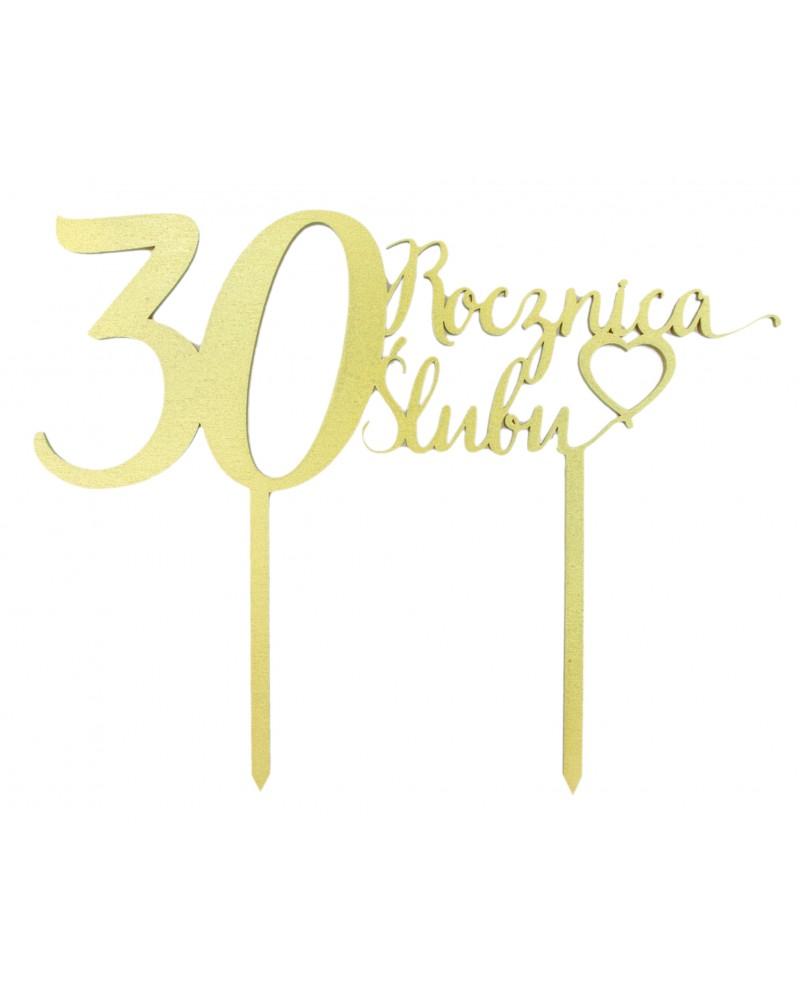 Topper na 30 rocznicę ślubu Złoty
