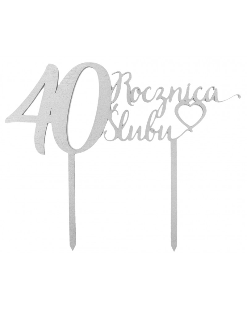 Topper na 40 rocznicę ślubu Srebrny