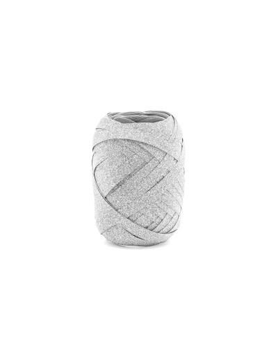 Wstążka do balonów srebrna brokatowa 10m