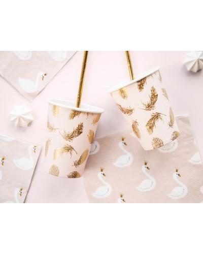 Kubeczki papierowe Złote Piórko Lovely Swan-Łabędź