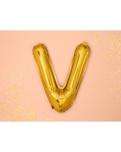 Balon foliowy Literka V Złoty