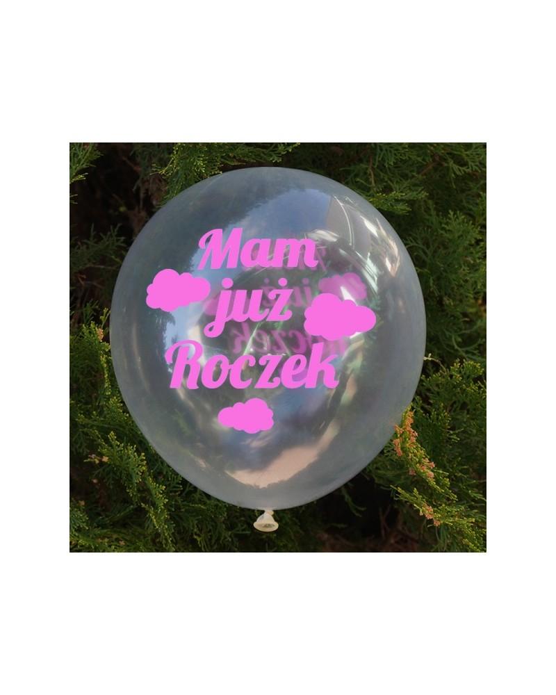 Balon przeźroczysty Mam Już Roczek róż