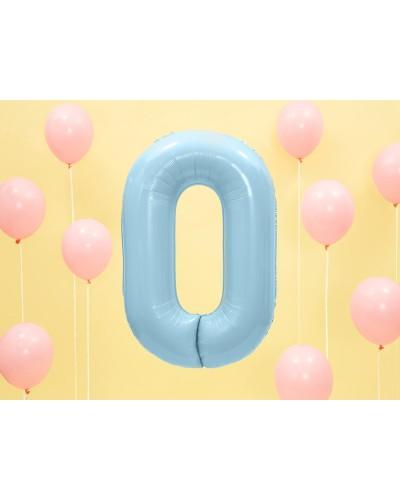 """Balon foliowy błękitna cyfra """"0"""" 86cm"""