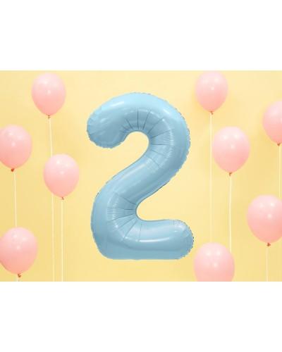 """Balon foliowy błękitna cyfra """"2"""" 86cm"""