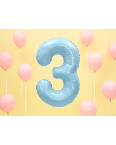 """Balon foliowy błękitna cyfra """"3"""" 86cm"""