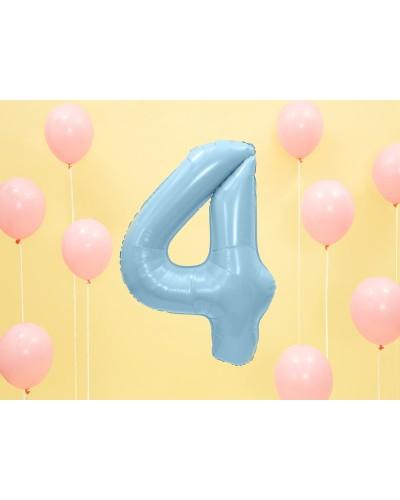 """Balon foliowy błękitna cyfra """"4"""" 86cm"""