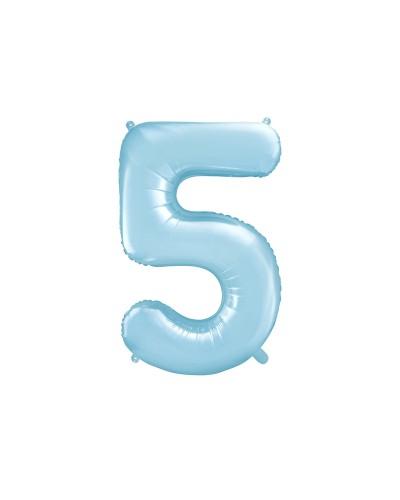 """Balon foliowy błękitna cyfra """"5"""" 86cm"""