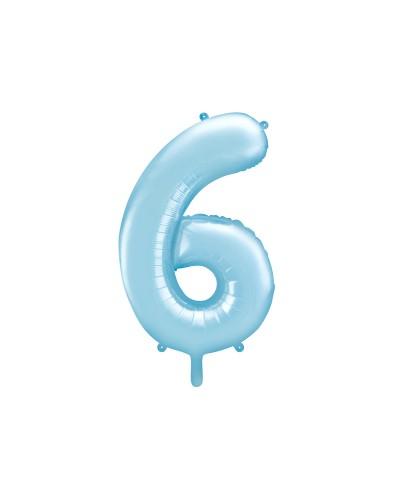 """Balon foliowy błękitna cyfra """"6"""" 86cm"""