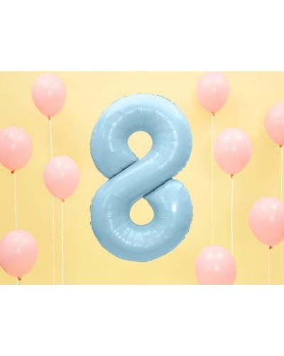 """Balon foliowy błękitna cyfra """"8"""" 86cm"""