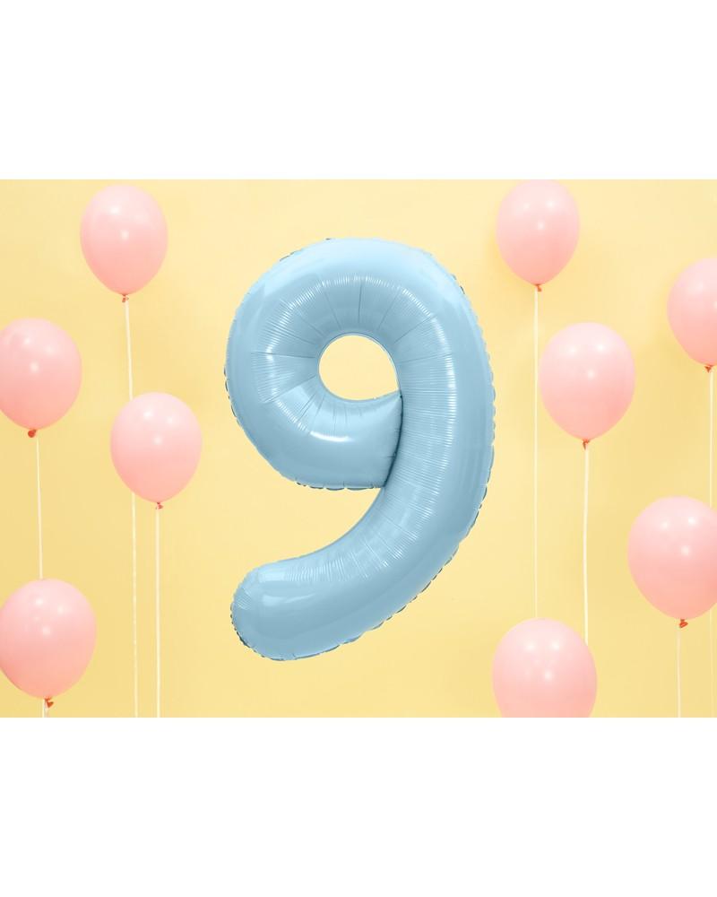 """Balon foliowy błękitna cyfra """"9"""" 86cm"""