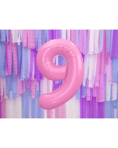"""Balon foliowy różowa cyfra """"9"""" 86cm"""