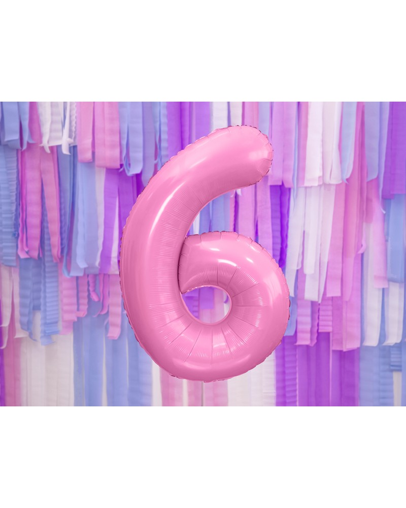 """Balon foliowy różowa cyfra """"6"""" 86cm"""