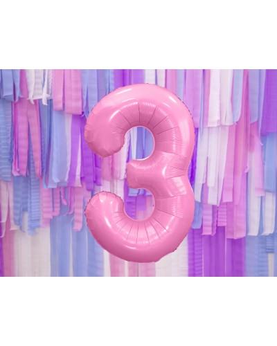 """Balon foliowy różowa cyfra """"3"""" 86cm"""