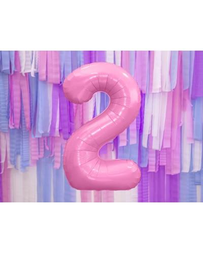 """Balon foliowy różowa cyfra """"2"""" 86cm"""
