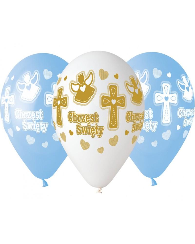 Balony premium z okazji Chrztu Biało-Niebieskie-Złote