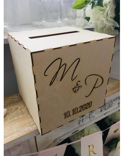 Pudełko na koperty drewniane, Personalizowane