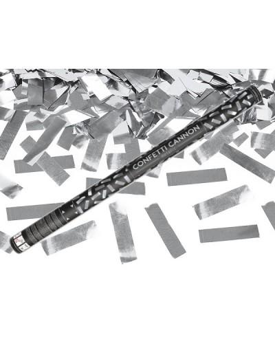 Tuba z konfetti, srebrne paski 80cm