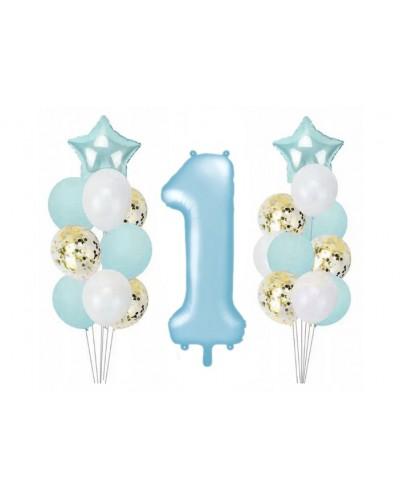 Zestaw z balonami na roczek dla chłopca, błękitne