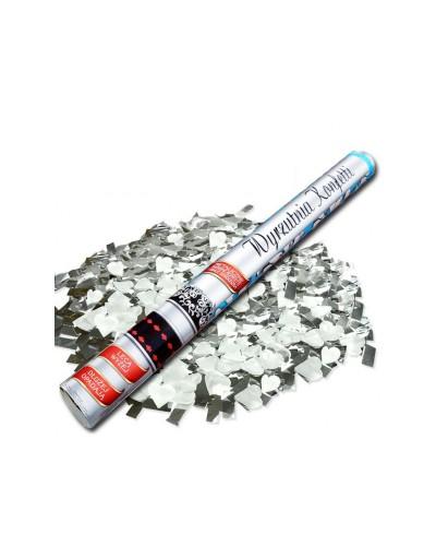 Tuba konfetti 60cm metaliczne srebrne konfetti + białe serca