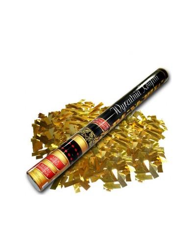 Wystrzałowa tuba konfetti 60cm metaliczne złote paski konfetti