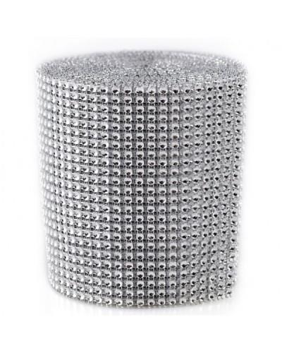 Taśma cyrkonie 9 metrów /12cm srebrna