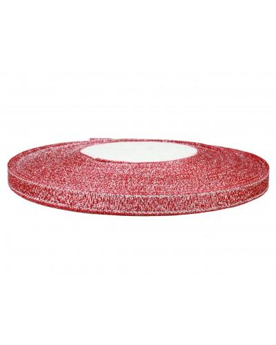 Wstążka tasiemka brokatowa 6mm czerwona